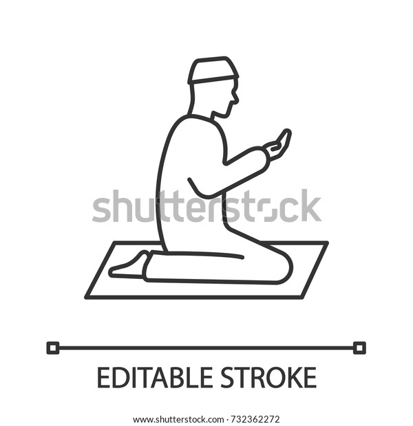 Praying Muslim Man Linear Icon Thin Stock Vector (Royalty