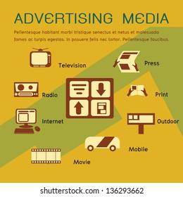 Pre print advertising media elements; vector 10 encapsulated postscript concept.