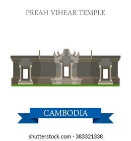 Preah Vihear Hindu Temple in Cambodia. Flat cartoon style historic sight showplace attraction web site vector illustration. World countries cities vacation travel sightseeing Asia collection.
