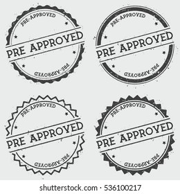 Pre-approved insignia stamp isolated on white background. Grunge round hipster seal with text, ink texture and splatter and blots, vector illustration.