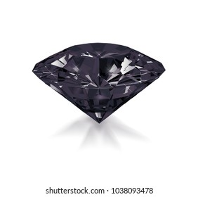 Precious black stone obsidian isolated on white background. Vector illustration.
