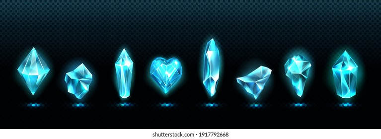 Precious emerald stones, shiny blue glass crystals isolated on transparent background. Vector realistic set of glow gemstone in shape of heart and crystal gems with magic light