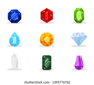 Precious gemstones vector illustration pack. Luxurious gems, glamor jewelry, shiny treasure. Decorative mineral stones set. Wealth, expensive present. Sapphire, ruby, emerald, topaz and diamond