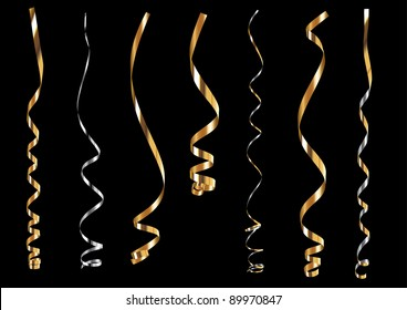 Precious gold and silver curling ribbons or party serpentine for design.