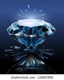 Precious stone. Diamond is on the mirror surface. Black background. Vector.