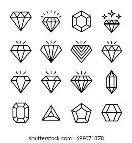 Precious Stone Line Vector Icons Set