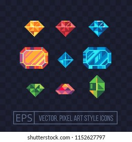 Precious stone pixel art icons set. Diamond, ruby, sapphire, topaz and emerald gemstone. Isolated vector illustration. Game assets 8-bit sprite. Design stickers, logo for jewelry store, mobile app.