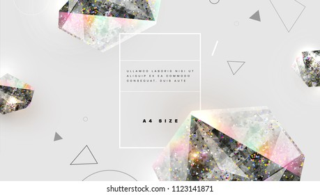 Precious stones with colorful glitters. Glow gems and diamods design. Trendy abstract background. Eps10 vector illustration.