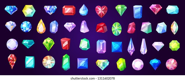 Precious stones and gems, jewelry. Vector rhinestone and brilliant, sapphire and amethyst, aquamarine and tourmaline, diamond and emerald, quartz and ruby jewels, agate