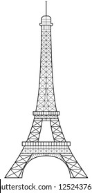 Precise vector illustration of Eiffel Tower in Paris, made from an actual photo
