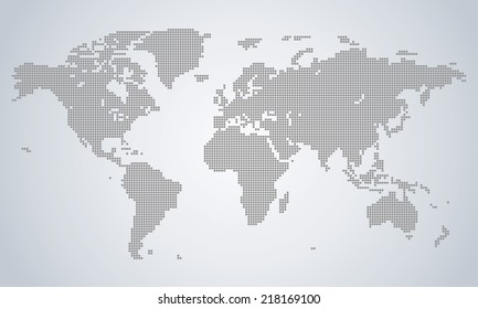 Precise world map performed with circles illustration light grey vector
