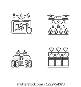 Precision agriculture linear icons set. Automation in horticulture. Smart farm. Crop storage. Customizable thin line contour symbols. Isolated vector outline illustrations. Editable stroke