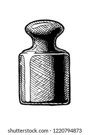 04bdb270168 Precision calibration weight for a balance scale. Vector hand drawn  illustration in vintage engraved style