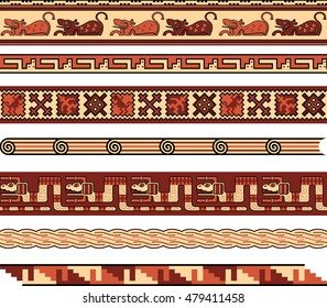 Pre-columbian and Native American Repeating Vector Borders and Patterns Vector Set