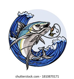 predator fish for fishing club logo vector
