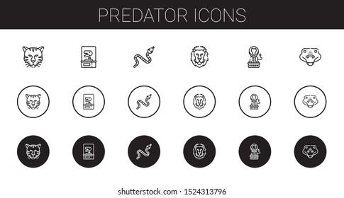 predator icons set. Collection of predator with tiger, dinosaur, snake, lion, crocodile. Editable and scalable predator icons.