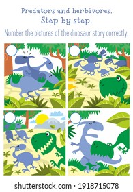 Predators and herbivores. Number the pictures of the story correctly. Step by step. Task for the development of attention, thinking and speech of children. Vector illustrations.