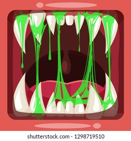 Predatory jaws of a fantastic horrible scary monster with slime , drooling, green mucus. Glue Jelly The substance is sticky, tension, elasticity. Cartoon style, vector, banner template, isolated.