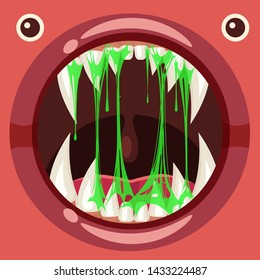 Predatory jaws of a fantastic horrible scary monster with slime, drooling, green mucus. Cartoon style