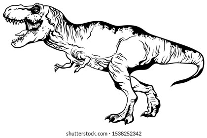 Predatory  tyrannosaurus. Strong tyrex with an open mouth stands on its hind legs. Vector illustration of a prehistoric creature on a white background.