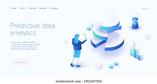 Predictive analytics in isometric vector illustration. Data mining, modelling and machine learning. Information statistics.
