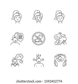 Predmenstrual syndrome linear icons set. Facial treatment. Acne and pimples. Food craving. Healthcare. Thin line contour symbols. Isolated vector outline illustrations. Editable stroke. Perfect pixel