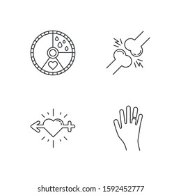 Predmenstrual syndrome linear icons set. Menstrual cycle. Joint pain. Libido racing. Swollen hand. Thin line contour symbols. Isolated vector outline illustrations. Editable stroke. Perfect pixel