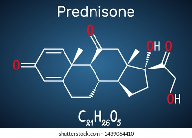 Prednisone molecule. A synthetic anti-inflammatory glucocorticoid derived from cortisone. Structural chemical formula on the dark blue background. Vector illustration