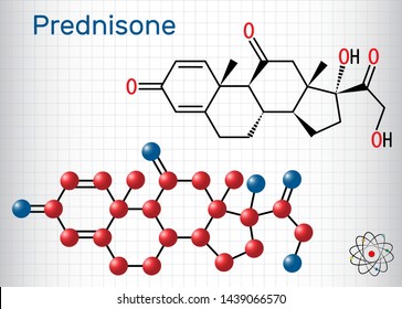 Prednisone molecule. A synthetic anti-inflammatory glucocorticoid derived from cortisone. Structural chemical formula and molecule model. Sheet of paper in a cage. Vector illustration