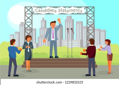 Pre-election campaign concept vector flat illustration. Political candidate making his election statements, giving his pledges to voters from outdoor scene. Public statement, election speech, meeting.
