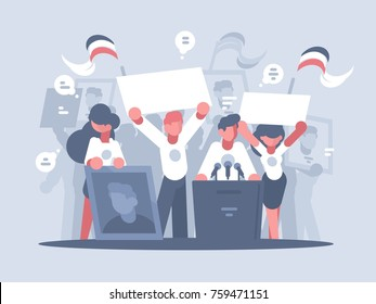Pre-election campaign. Promotion and advertising of candidate. Vector illustration
