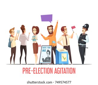 Pre-election canvassing campaigning with candidates talking to people political cartoon composition with ballot box vector illustration