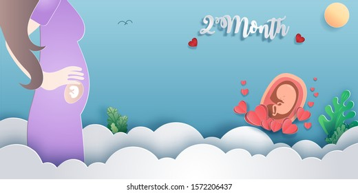 Pregnancy 2-month Stages of development. Process of human fetal growth in pregnancy and mother and baby infographic Happy Mother's Day beautiful woman and child.Vector illustration