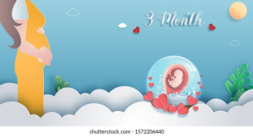 Pregnancy 3-month Stages of development. Process of human fetal growth in pregnancy and mother and baby infographic Happy Mother's Day beautiful woman and child.Vector illustration