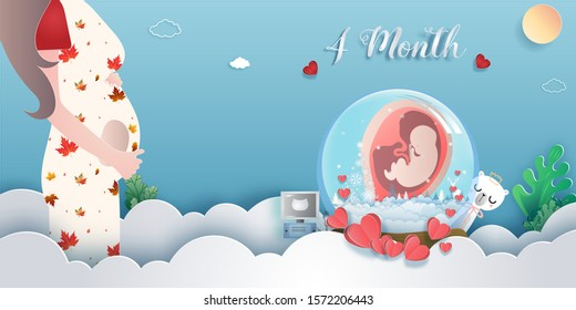 Pregnancy 4-month Stages of development. Process of human fetal growth in pregnancy and mother and baby infographic Happy Mother's Day beautiful woman and child.Vector illustration