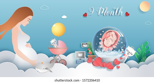 Pregnancy 9-month Stages of development. Process of human fetal growth in pregnancy and mother and baby infographic Happy Mother's Day beautiful woman and child.Vector illustration