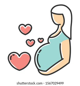 Pregnancy care color icon. Prenatal period. Motherhood, parenthood. Expecting baby, child. Gynecology check visit. Medical procedure. Clinical professional treatment. Isolated vector illustration
