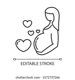 Pregnancy care linear icon. Prenatal period. Motherhood, parenthood. Expecting baby. Medical procedure. Thin line illustration. Contour symbol. Vector isolated outline drawing. Editable stroke