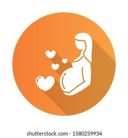 Pregnancy care orange flat design long shadow glyph icon. Prenatal period. Motherhood. Expecting baby, child. Medical procedure. Clinical professional treatment. Vector silhouette illustration