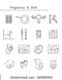 Pregnancy and childbirth, obstetrics, gynecology line icons. Human embryo. Abstract fetus symbol. Breastfeeding. Health medical and care child. Diagnostic equipment, medical tools. Motherhood.