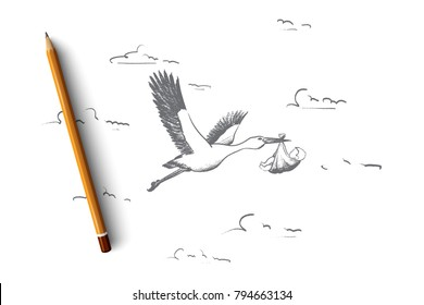 Pregnancy concept. Hand drawn stork in flight delivering a newborn baby. Symbol of newborn child isolated vector illustration.