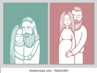 Pregnancy couple cards. Silhouette of couple. Background with pregnant woman and her husband. Hipster family