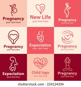 Pregnancy flat icons set logo ideas for brand