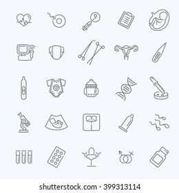 Pregnancy, gynecology, childbirth and motherhood line icons set