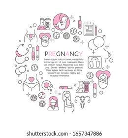 Pregnancy and gynecology line icons set round concept on white background. Pregnant woman, fetus, newborn, uterus, medical tools. Vector illustration