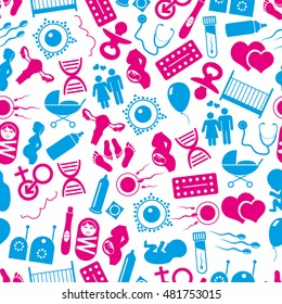 pregnancy and having baby icons seamless pattern eps10