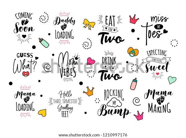Pregnancy Mama Mother Quote Set Vector Stock Vector (Royalty ...