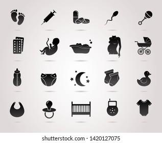 Pregnancy, maternity, baby vector icon set.