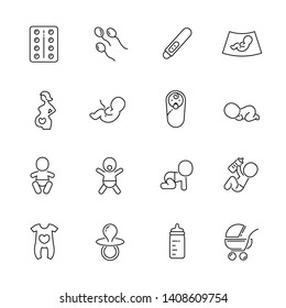Pregnancy and new baby born line icons. Vector icon set