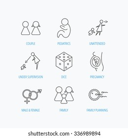 Pregnancy, pediatrics and family planning icons. Under supervision, unattended and baby child linear signs. Dice, male and female icons. Linear set icons on white background.